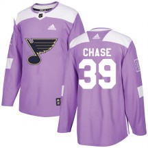 Kelly Chase St. Louis Blues Adidas Youth Authentic Hockey Fights Cancer Jersey - Purple