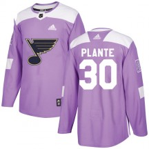 Jacques Plante St. Louis Blues Adidas Youth Authentic Hockey Fights Cancer Jersey - Purple